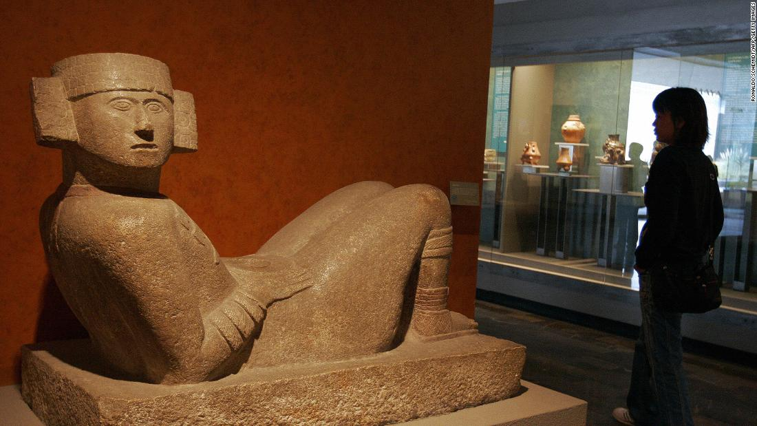 "A ""Chac Mool,"" at the National Museum of Anthropology and History, in Mexico city. These sculptures are associated with the Mayan and Aztec rain gods."