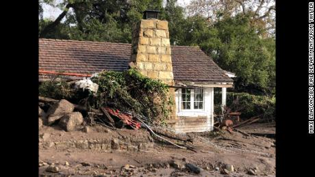 Rainfall and mudflow damaged guest cottages at the San Ysidro Ranch in Montecito, California.