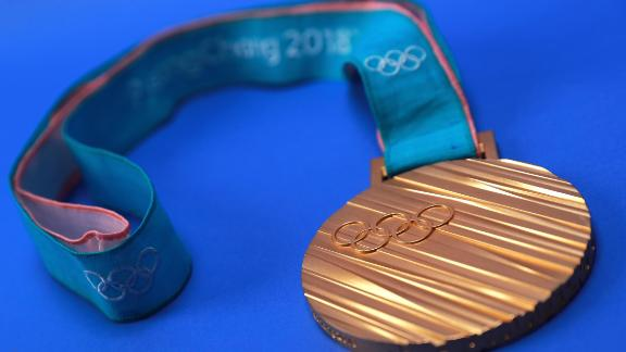 PARK CITY, UT - SEPTEMBER 25:  The PyeonChang 2018 gold medal is seen during the Team USA Media Summit ahead of the PyeongChang 2018 Olympic Winter Games on September 25, 2017 in Park City, Utah.  (Photo by Tom Pennington/Getty Images)