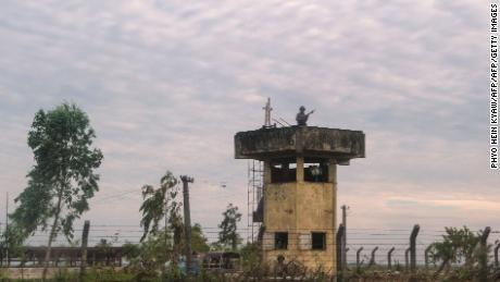 Border guards keep watch near a border post in Rakhine state in Myanmar in November 2017.