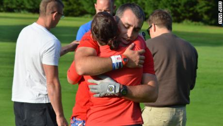 Jeffs and his wife Kelly savor the record-breaking moment at Tiverton Golf Club