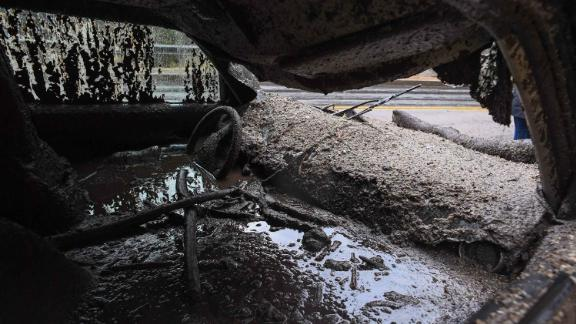 Mud fills the interior of a destroyed car in Burbank on January 9, 2018.