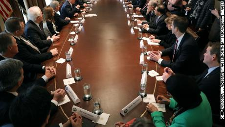 WASHINGTON, DC - JANUARY 09:  U.S. President Donald Trump presides over a meeting about immigration with Republican and Democrat members of Congress in the Cabinet Room at the White House January 9, 2018 in Washington, DC. In addition to seeking bipartisan solutions to immigration reform, Trump advocated for the reintroduction of earmarks as a way to break the legislative stalemate in Congress.  (Photo by Chip Somodevilla/Getty Images)