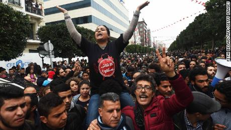 Tunisians protest against austerity measures on Tuesday January 9,  in Tunis.