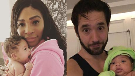Serena Wililams and her husband, Alexis Ohanian, each holds their daughter, Alexis Olympia.
