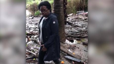 Oprah takes video of mud-covered yard
