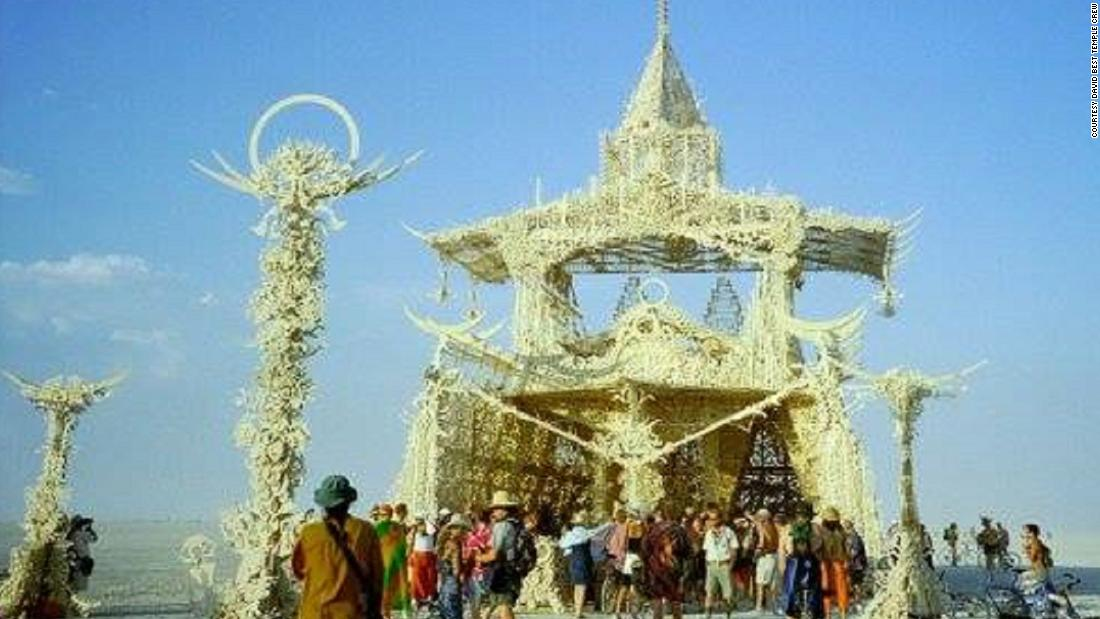 The Temple of Tears was designed by David Best and the Temple Crew in 2001 -- the year that the temple tradition really took hold. By the end of the week-long event, prayers and messages were written all over the structure, before it was burned.