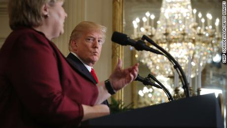 Prime Minister Erna Solberg of Norway and US President Donald Trump conduct a news conference in the East Room of the White House January 10, 2018 in Washington, DC.