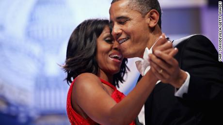 President Barack Obama and Michelle Obama dance during the Inaugural Ball in 2013, shortly after he was sworn-in for his second term of office.