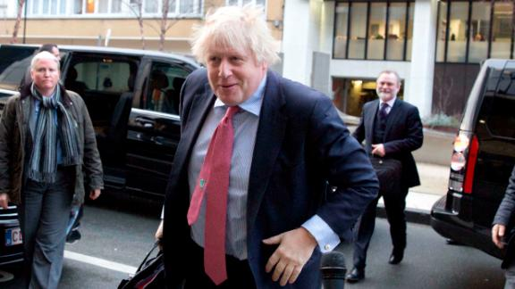 British Foreign Secretary Boris Johnson arrives for an EU3-Iran meeting at EEAS headquarters in Brussels on Thursday Jan. 11, 2018. European Union foreign ministers hold talks with their Iranian counterpart in Brussels on Thursday amid doubts over the future of an international agreement curbing the Islamic Republic's nuclear ambitions. (AP Photo/Virginia Mayo)