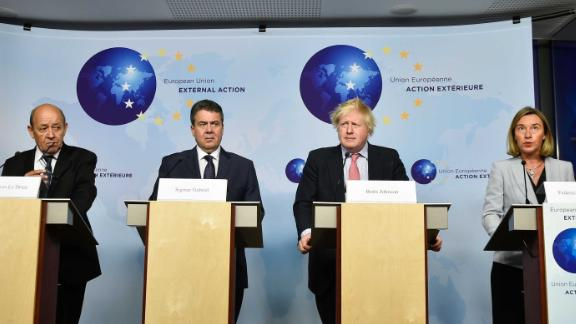 French Foreign Minister Jean-Yves Le Drian, from left, German Foreign Minister Sigmar Gabriel, British Foreign Secretary Boris Johnson and EU High Representative of the Foreign Affairs Federica Mogherini.