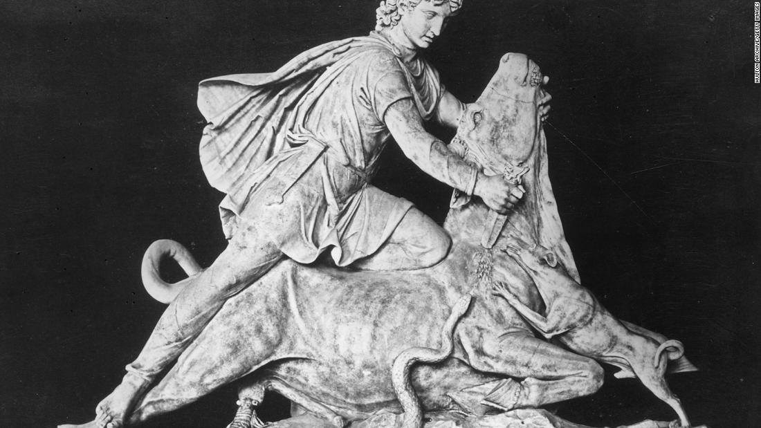 The centerpiece of most Mithraic temples features the god Mithras slaying a bull, known as the tauroctony. Variations of the relief feature a scorpion on the bull's testicles and a dog or snake licking the blood.
