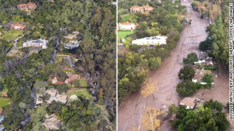 What the mudslides did to Montecito, before and after