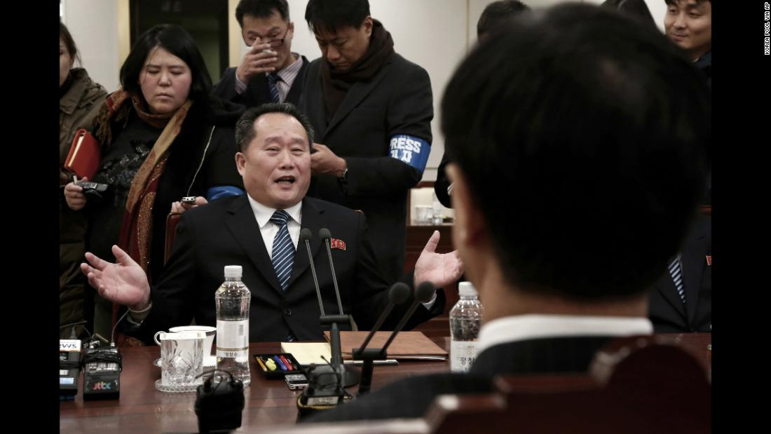 "North Korea's chief negotiator, Ri Son Gwon, speaks to South Korean Unification Minister Cho Myoung-gyon, right, as <a href=""http://www.cnn.com/2018/01/09/asia/north-korea-talks-intl/index.html"" target=""_blank"">they meet in the border town of Panmunjom</a> on Tuesday, January 9. It was the first time the two nations have met face to face in more than two years. North Korea agreed to send a delegation to next month's Winter Olympics in South Korea. It also agreed to hold talks with Seoul to ease military tensions."