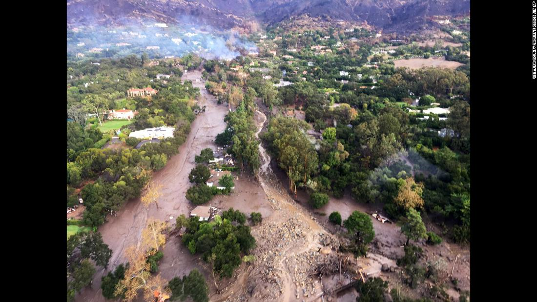 "An aerial view of Montecito, California, shows mudflow and debris on Tuesday, January 9. Heavy rains <a href=""http://www.cnn.com/2018/01/09/us/gallery/southern-california-mudslides-flooding/index.html"" target=""_blank"">unleashed deadly mudslides</a> that damaged or swept away dozens of homes."