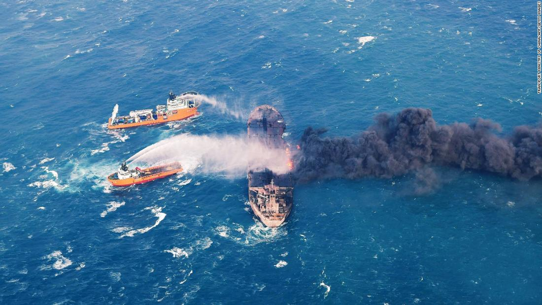 "In this photo, distributed by the Transport Ministry of China, Chinese authorities spray foam on an oil tanker <a href=""http://www.cnn.com/2018/01/10/asia/china-oil-tanker-sanchi-explosion-intl/index.html"" target=""_blank"">that was ablaze</a> off the coast of Shanghai on Wednesday, January 10. The Panama-registered tanker, Sanchi, was carrying 136,000 tons of oil from Iran to South Korea when it collided with a Hong Kong-registered freighter in the East China Sea on Saturday, January 6. Thirty Iranian and two Bangladeshi sailors were on the Sanchi during the catastrophic collision."