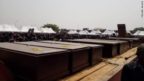 Coffins of dead people buried in Nigeria's Benue state