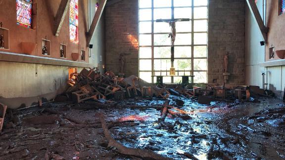 The damage at the chapel at La Casa de Maria in Montecito.