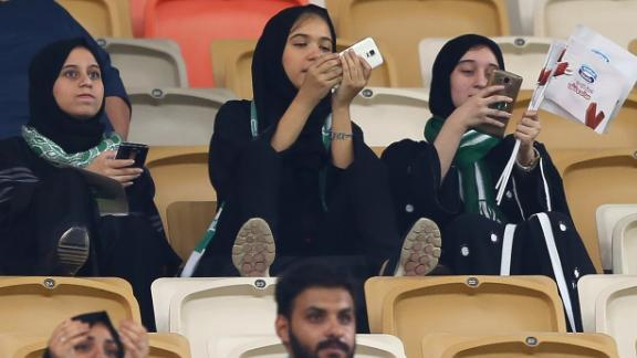 Saudi women at a football match in Jeddah on January 12.