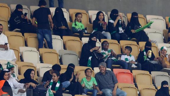 Female fans sat in a section designated for families.