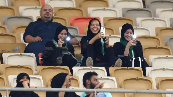 Female Saudi soccer fans attend a match at the King Abdullah Sports City in Jeddah on January 12.