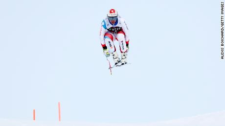Swiss Beat Feuz flies high on the Lauberhorn in Wengen.