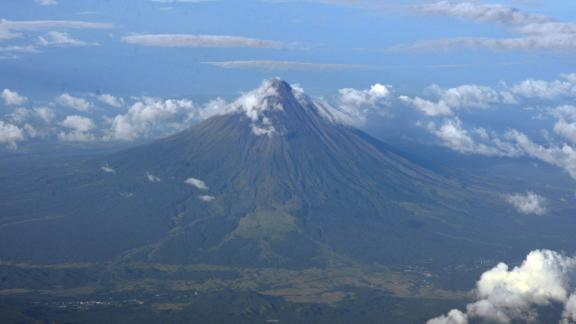 An aerial view of Mayon volcano ouside Legazpi City in 2015.