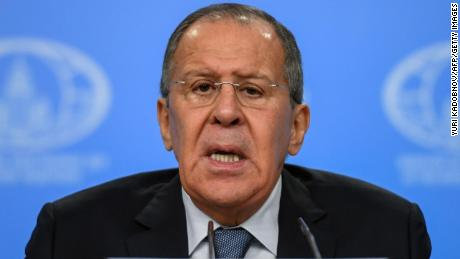 Russian Foreign Minister Sergei Lavrov gives his annual press conference in Moscow on January 15, 2018.