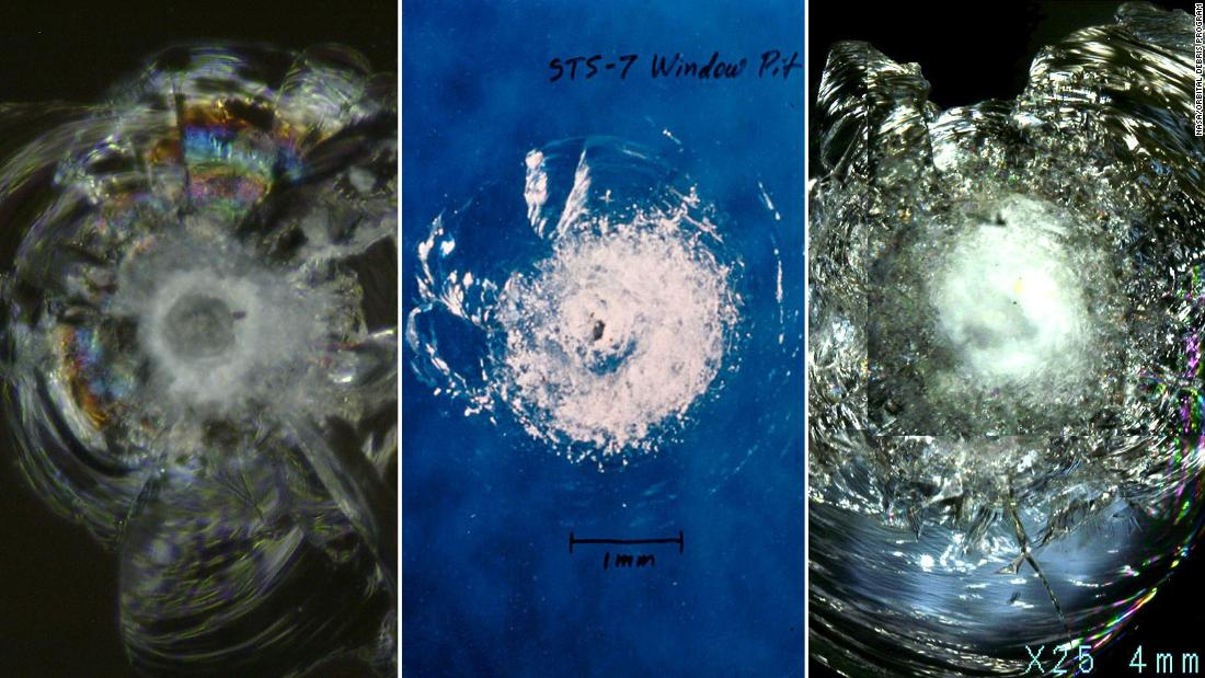"A number of magnified images showing ""pitting"" in space shuttle windows. The glass used was extremely strong, but could be damaged by debris as small as a fleck of paint. Today the International Space Station's cupola observation windows are quadruple glazed, but are still susceptible to miniscule pieces of debris."