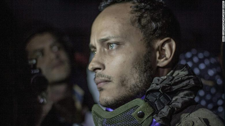 Former Venezuelan police officer Oscar Perez at an anti-government  protest in Caracas on July 13, 2017.