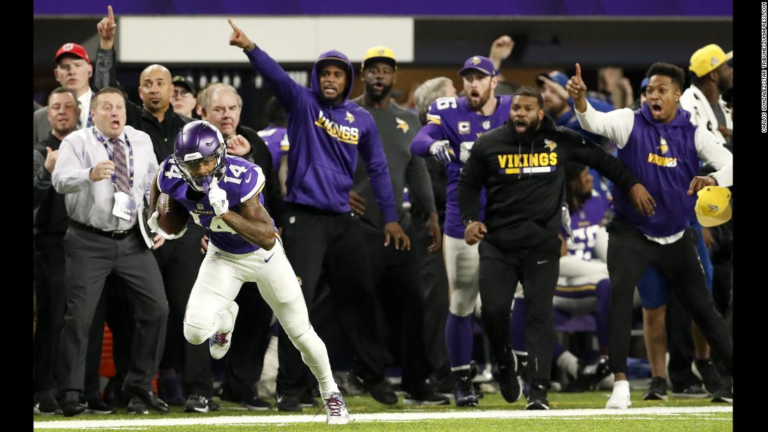 Vikings receiver Stefon Diggs catches the ball before scoring a historic, last-second 61-yard touchdown during an NFC Divisional Playoff game on Sunday, January 14, in Minneapolis. The Vikings defeated the New Orleans Saints 29-24 and will advance to face the Philadelphia Eagles for a chance to play in the Super Bowl on February 4.