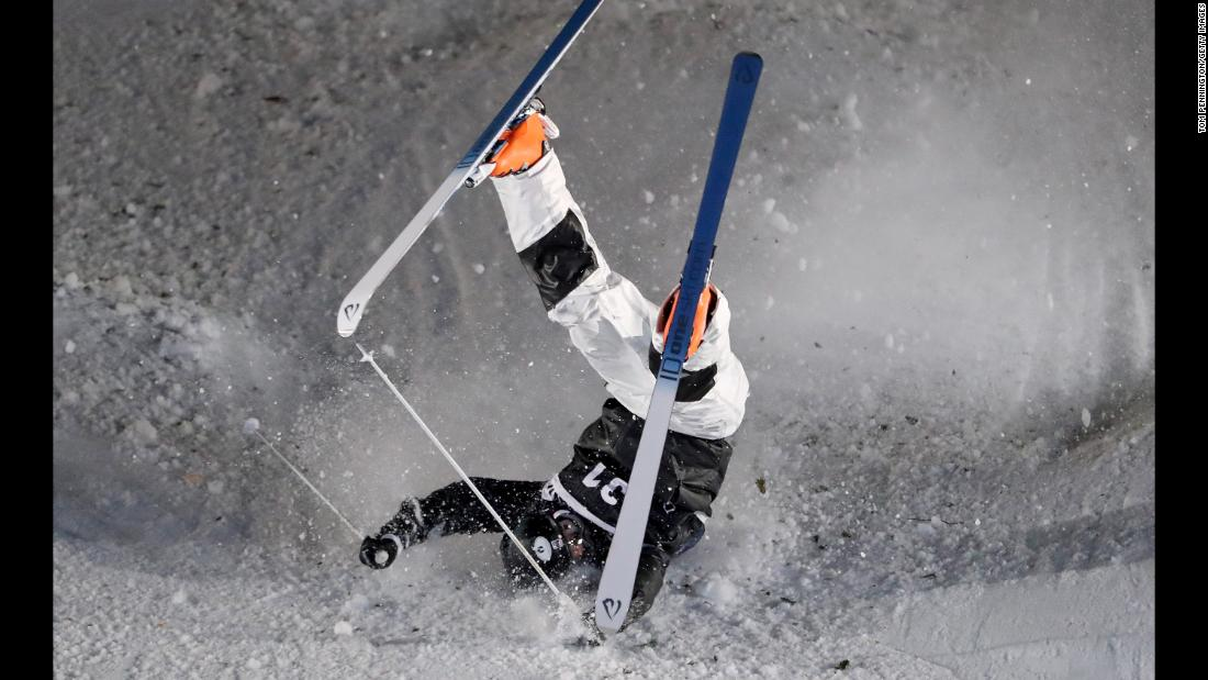 Bryon Wilson of the United States crashes in the Men's Moguls Finals during the 2018 FIS Freestyle Ski World Cup on Wednesday, January 10, in Park City, Utah.