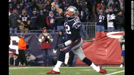 FOXBOROUGH, MA - JANUARY 13: Tom Brady #12 of the New England Patriots reacts after a touchdown in the third quarter of the AFC Divisional Playoff game against the Tennessee Titans at Gillette Stadium on January 13, 2018 in Foxborough, Massachusetts.  (Photo by Jim Rogash/Getty Images)