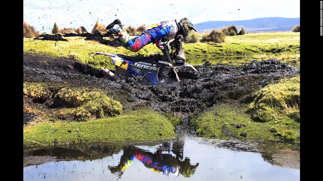 Argentinian biker Franco Caimi crashes in the mud during Stage 7 of the 2018 Dakar Rally between La Paz and Uyuni, Bolivia, on January 13.