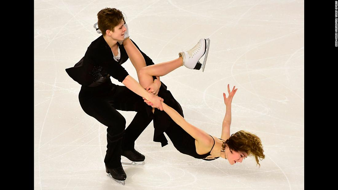 Carolane Soucisse and Shane Firus skate in a short dance program on Friday, January 12.