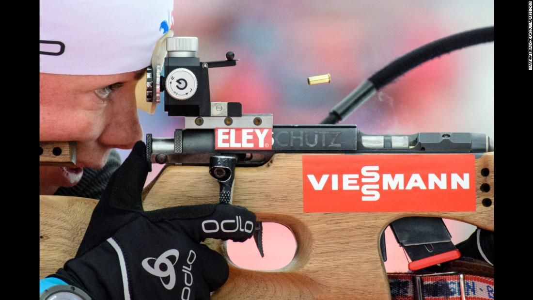 A bullet casing releases as Marie Dorin-Habert from France practices at the shooting range during a training session on Tuesday, January 9, at the Biathlon World Cup in Ruhpolding, Germany.