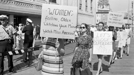 Demonstrators outside the Miss America Pageant in September 1968 in Atlantic City, New Jersey.