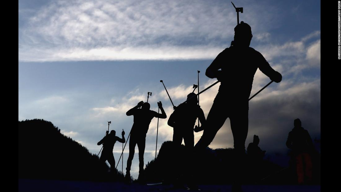 "Athletes compete at the men's 7.5 kilometer relay during the IBU Biathlon World Cup on Friday, January 12, in Ruhpolding, Germany. <a href=""http://www.cnn.com/2018/01/09/sport/gallery/what-a-shot-sports-0108/index.html"" target=""_blank""><strong>See 24 amazing sports photos from last week. </a></strong>"