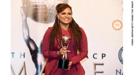 Ava DuVernay, winner of Entertainer of the Year, poses in the press room for the 49th NAACP Image Awards at Pasadena Civic Auditorium on January 15, 2018 in Pasadena, California.