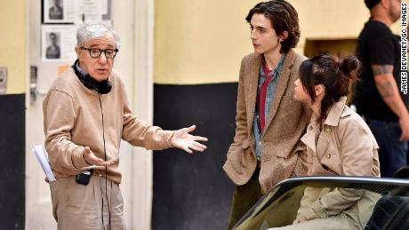 Timothee Chalamet on set with Woody Allen and Selena Gomez on September 11, 2017, in New York.