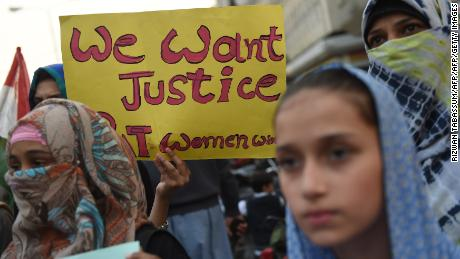 Supporters of Pakistan Awami Tehreek (PAT) take part in a protest after a child was raped and murdered in Karachi on January 13, 2018. Hundreds of protesters enraged over the murder of a young girl threw stones at government buildings in a Pakistani city near the Indian border for a second day January 11, amid growing outrage over the killing. / AFP PHOTO / RIZWAN TABASSUM        (Photo credit should read RIZWAN TABASSUM/AFP/Getty Images)