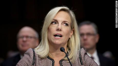 WASHINGTON, DC - JANUARY 16: Homeland Security Secretary Kirstjen Nielsen responds to questions from Sen. Richard Durbin while testifying during a hearing held by the Senate Judiciary Committee January 16, 2018 in Washington, DC.