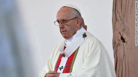 Pope Francis celebrates an open-air mass at Maquehue airport in Temuco, 800 km south of Santiago, on January 17, 2018. Pope Francis arrived in the heartland of the Mapuche, Chile's largest indigenous group, which complains of discrimination and abuse and is seeking the return of ancestral lands now in private hands. The visiting Pontiff will pay a short visit to Temuco to make direct contact with Mapuche leaders after presiding over a huge open air mass.  / AFP PHOTO / Vincenzo PINTO        (Photo credit should read VINCENZO PINTO/AFP/Getty Images)