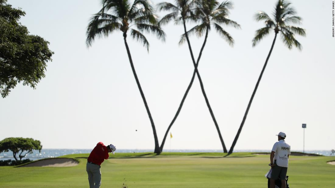 <strong>W is for win: </strong>Although it didn't work for James Hahn (pictured), who lost a six-hole playoff to Patton Kizzire in the Sony Open in Hawaii.