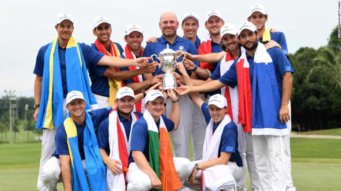 <strong>United Europe:</strong> Captain Thomas Bjorn's European team beat the  Asian team in the Ryder Cup-style EurAsia Cup in Malaysia.