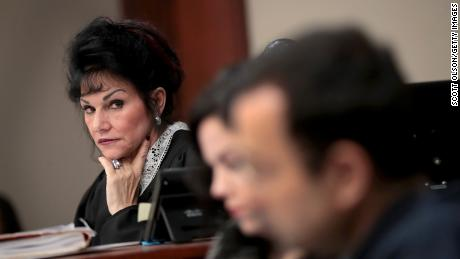 Judge Rosemarie Aquilina looks at Larry Nassar as he listens to a victim's impact statement on January 16, 2018 in Lansing, Michigan.