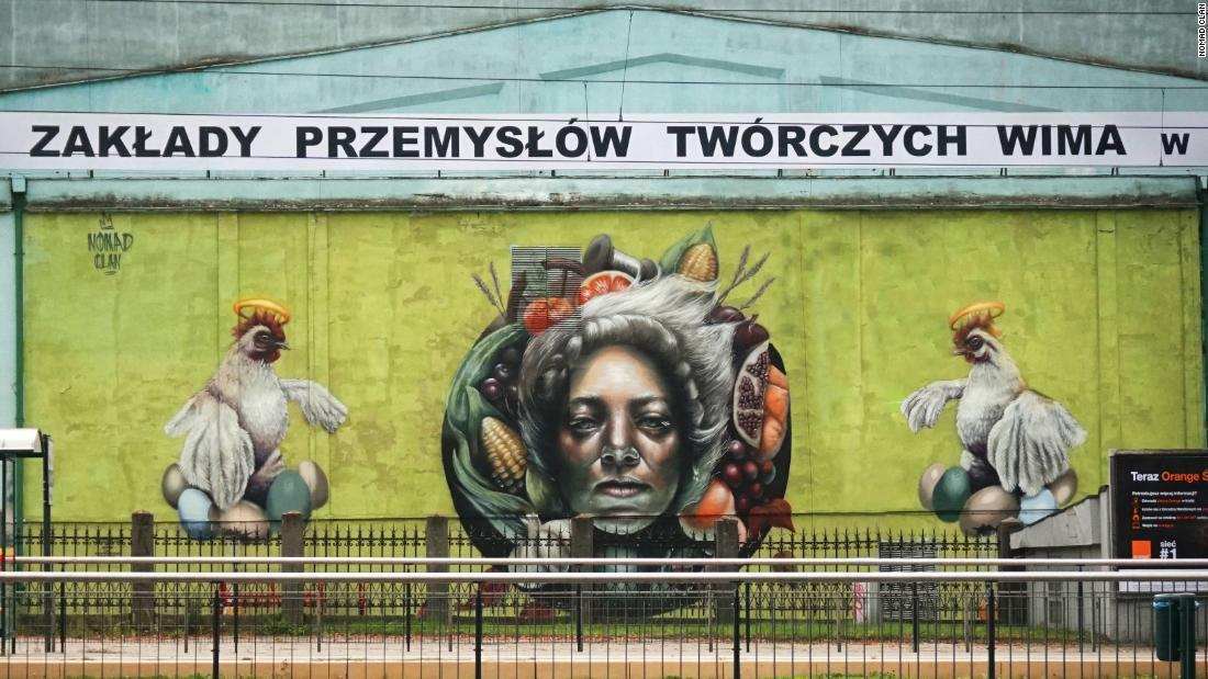 "Their work ""Mokosz,"" in Lodz, Poland, depicts a Slavic goddess from traditional Polish folklore."