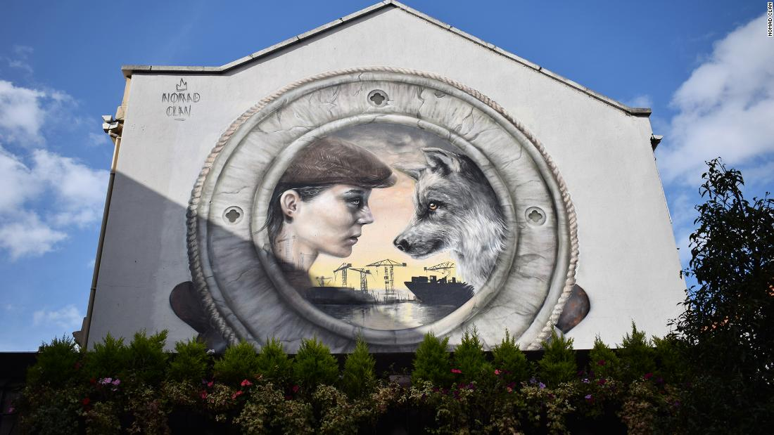 """Still Waters,"" in Belfast, is described by Nomad Clan as ""a nod to Belfast's ship building heritage, its linen and its rope industry. The wolf is on Belfast's shield. Wolves were once an integral part of the Irish countryside and culture."""