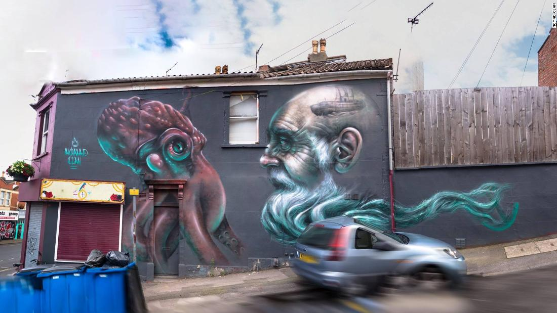 """Sentient Beings"" shows an octopus and a human. Both are intelligent creatures, explains Nomad Clan, but ""one lives in harmony with its environment, the other disrupts the balance."""
