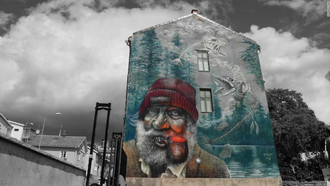 "Their work often tackles social and environmental issues. ""Pipe Dreams,"" in Arvika, Sweden, depicts an old angler with a dream of endless fish. ""It's easy to live under the illusion that our lifestyles aren't having a negative impact on the environment,"" says Nomad Clan."